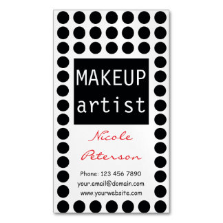 Black and White Polka Dots - Makeup Artist Magnetic Business Card