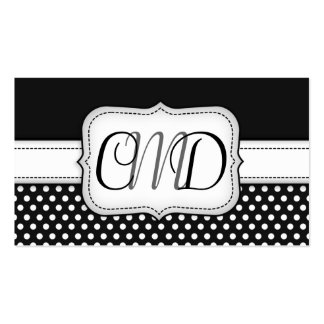 Black and White Polka Dots Monogram Business Cards