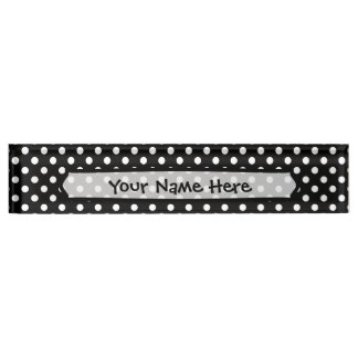 Black and White Polka Dots Name Plate