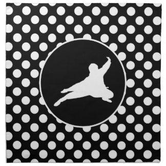 Black and White Polka Dots; Ninja Printed Napkins