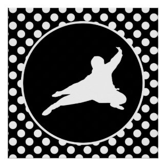 Black and White Polka Dots; Ninja Poster