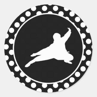 Black and White Polka Dots; Ninja Classic Round Sticker