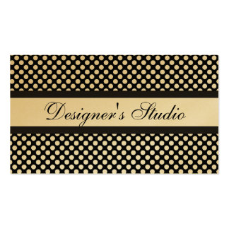 Black and White Polka Dots on Gold Business Cards