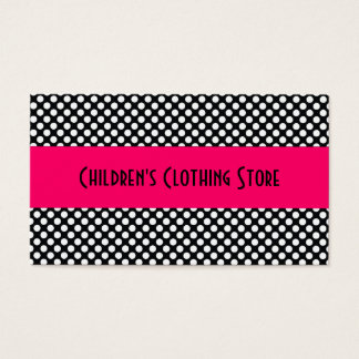 Black and White Polka Dots on Pink Business Card