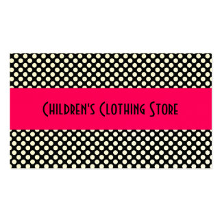 Black and White Polka Dots on Pink Business Cards