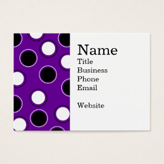 Black and White Polka Dots on Purple Circles Business Card