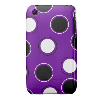 Black and White Polka Dots on Purple Circles iPhone 3 Cover