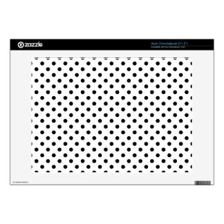 Black and White Polka Dots Pattern Acer Chromebook Decals