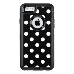 Black and White Polka Dots Pattern OtterBox Defender iPhone Case