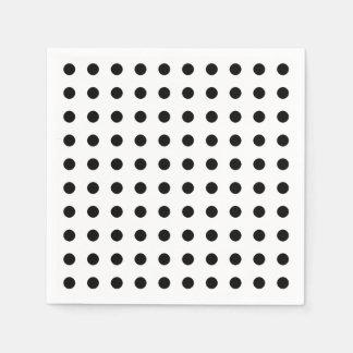 Black and white polka dots pattern paper napkins