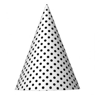 Black and White Polka Dots Pattern Party Hat