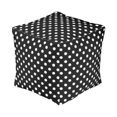 Black and White Polka Dots Pattern Pouf
