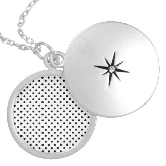 Black and White Polka Dots Pattern Round Locket Necklace