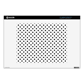 """Black and White Polka Dots Pattern Skin For 12"""" Laptop"""