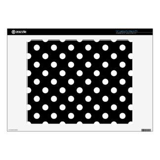 Black and White Polka Dots Pattern Skins For Laptops