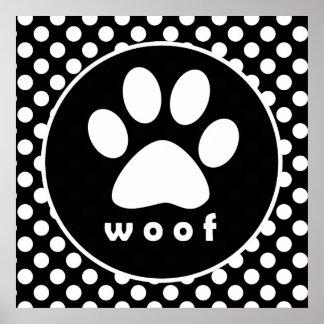 Black and White Polka Dots; Paw Print