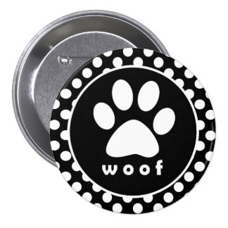 Black and White Polka Dots; Paw Print Buttons