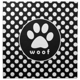 Black and White Polka Dots; Paw Print Cloth Napkin
