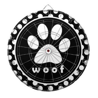 Black and White Polka Dots; Paw Print Dartboard With Darts