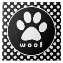 Black and White Polka Dots; Paw Print Tile