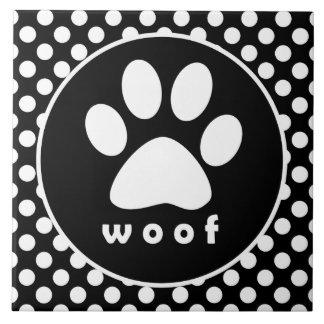 Black and White Polka Dots; Paw Print Ceramic Tiles