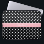 "Black and White Polka Dots Pink Name Monogram Laptop Sleeve<br><div class=""desc"">Black and White Polka Dot Pattern, Pink Ribbon Name Monogram Label A stylish, modern, Polka Dotted pattern in black and white. Customize the label with your name, monogram or other text. (Click on &quot;Customize it&quot; to change fonts, adjust font sizes, font colors, add or adjust text fields, etc.) Need this...</div>"