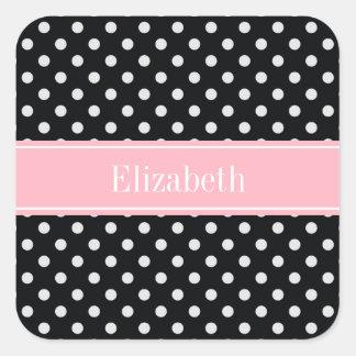 Black and White Polka Dots Pink Name Monogram Square Sticker