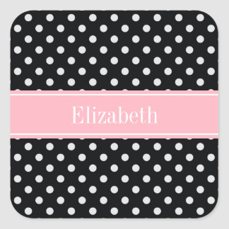 Black and White Polka Dots Pink Name Monogram Sticker