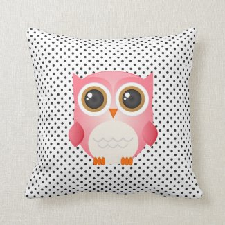Black and White Polka Dots Pink Owl Pillow