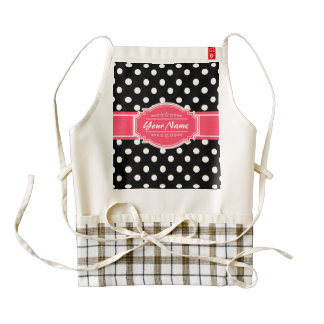 Black and White Polka Dots Pink Personalized Name Zazzle HEART Apron