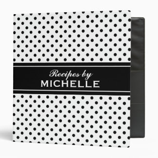Black and white polka dots recipe binder cookbook
