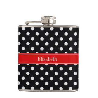 Black and White Polka Dots Red Name Monogram Hip Flask