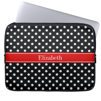 Black and White Polka Dots Red Name Monogram Laptop Computer Sleeve