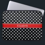 "Black and White Polka Dots Red Name Monogram Laptop Sleeve<br><div class=""desc"">Black and White Polka Dot Pattern, Red Ribbon Name Monogram Label A stylish, modern, Polka Dotted pattern in black and white. Customize the label with your name, monogram or other text. (Click on &quot;Customize it&quot; to change fonts, adjust font sizes, font colors, add or adjust text fields, etc.) Need this...</div>"