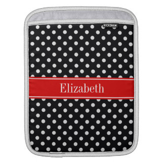 Black and White Polka Dots Red Name Monogram Sleeve For iPads
