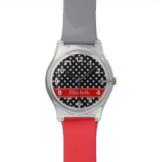 Black and White Polka Dots Red Name Monogram Watch