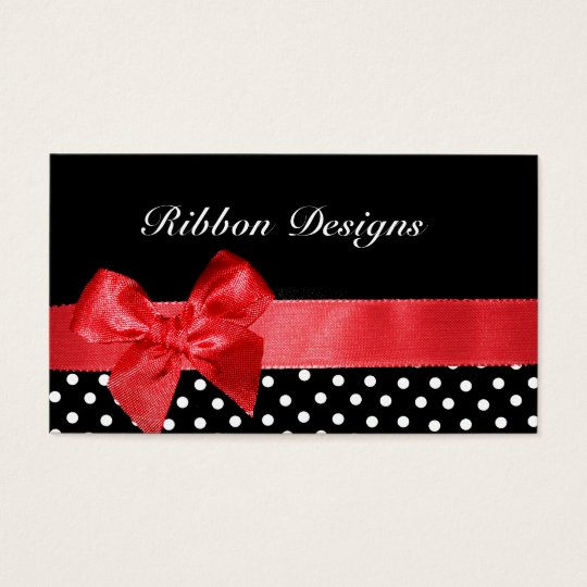 Black and white polka dots & red ribbon graphic business card