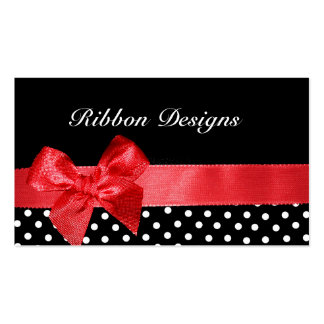 Black and white polka dots & red ribbon graphic business card template