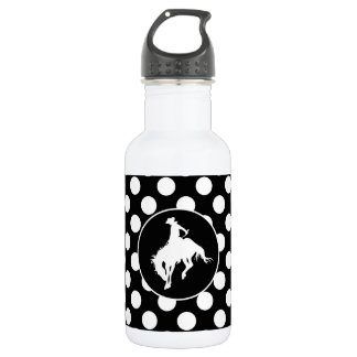 Black and White Polka Dots; Rodeo Cowboy Stainless Steel Water Bottle