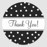 Black and White Polka Dots Round Stickers