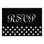 Black and White Polka Dots RSVP Wedding Response Personalized Announcements