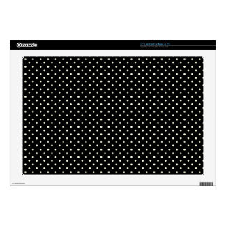 """Black And-White-Polka-Dots Decal For 17"""" Laptop"""