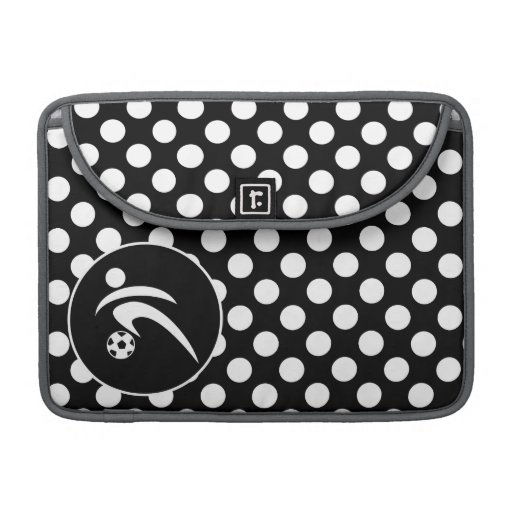 Black and White Polka Dots; Soccer Sleeve For MacBooks