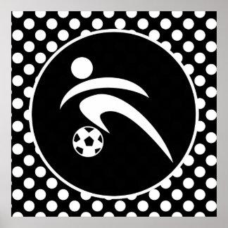 Black and White Polka Dots; Soccer Poster
