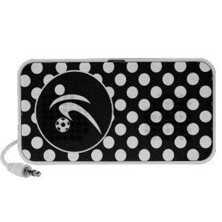 Black and White Polka Dots; Soccer Laptop Speaker