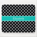 "Black and White Polka Dots Teal Name Monogram Mouse Pad<br><div class=""desc"">Black and White Polka Dot Pattern, Teal Ribbon Name Monogram Label A stylish, modern, Polka Dotted pattern in black and white. Customize the label with your name, monogram or other text. (Click on &quot;Customize it&quot; to change fonts, adjust font sizes, font colors, add or adjust text fields, etc.) Need this...</div>"