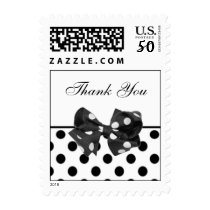 Black and white polka dots Thank You Postage