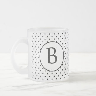 Black and White Polka Dots w/Monogram Frosted Glass Coffee Mug