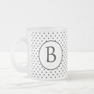 Black and White Polka Dots w/Monogram 10 Oz Frosted Glass Coffee Mug