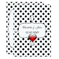 Black and White Polka Dots Wedding Card